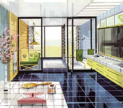 Retro Bathroom Decorating in 1950s 60s Style, Modern Bathrooms
