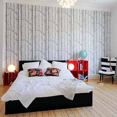 Bedroom wallpaper in black white and gray one wall for Red bedroom wallpaper