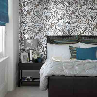 Bedroom wallpaper in black white and gray one wall for Bed wallpaper design