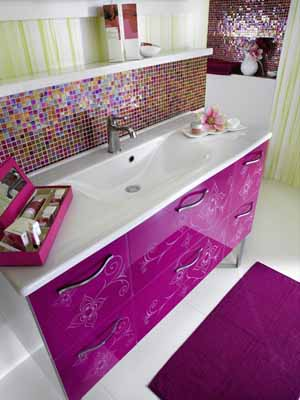 modern bathroom decorating ideas purple rug accessories