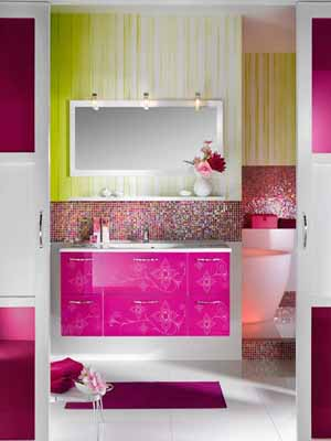 Contemporary Bathroom Decorating Ideas, Bright Purple and Pink