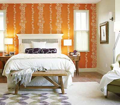 Bright bedroom wall decoration with modern wallpaper for Bright yellow bedroom ideas