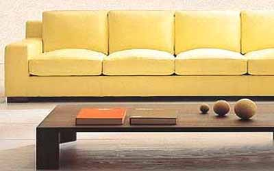 yellow leather sofa living room furniture fusion of styles