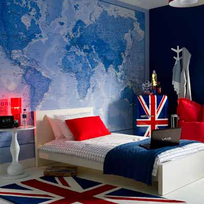 children bedroom decorating ideas world map flag
