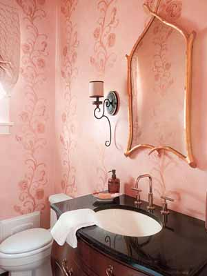 beautiful wallpapers ideas for bathroom decorating pink flowers