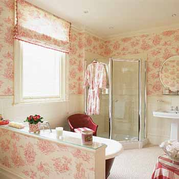 Stylish Bathroom Decorating Ideas Soft Pink Walls - Light pink wallpaper for bedrooms