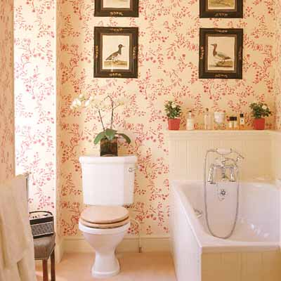 Stylish bathroom decorating ideas soft pink walls for Bathroom wallpaper patterns