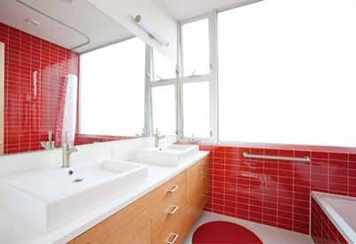 retro ideas for bathroom decorating red wall tiles