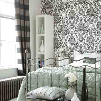 Bedroom wallpaper in black white and gray one wall for Modern wallpaper for walls ideas