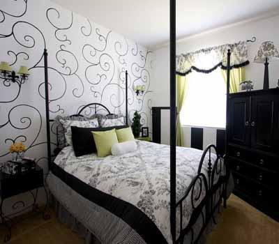 gray black n white wallpaper green curtains cushions