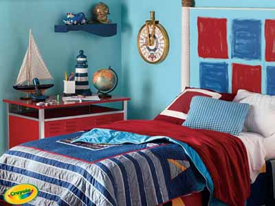 Nautical bedroom decor bright colors fun decorating for Boys red and blue bedroom ideas