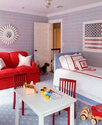 Patriotic decoration kids rooms decor flags color schemes for American flag bedroom ideas