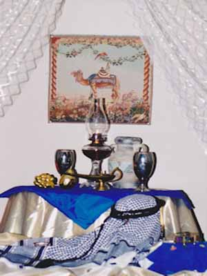blue arabic decor items fabrics lamps and vases