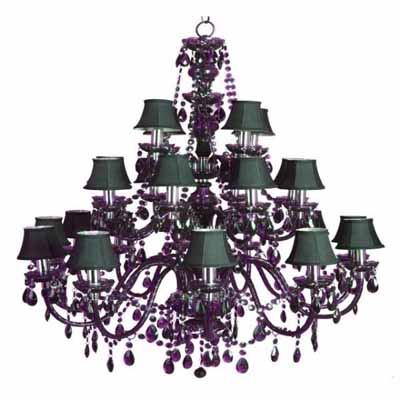 black chandelier with green minin shades and purple glass crystals