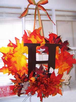 window decorations wreath fall decor