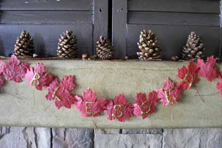 Craft Ideas Leaves on Painted Pink Color Maple Leaves And Pine Cones For Fireplace