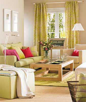 Bright Decorative Pillows In Bold Pink Colors And White Cream Accessories Emphasize Relaxing Fresh Green Of Living Room Furniture