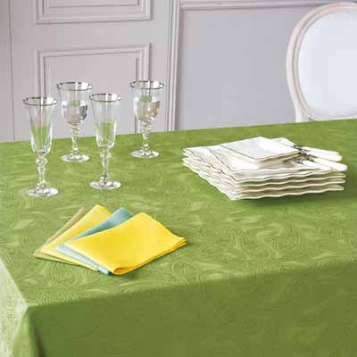 green yellow table cloth napkins silk fabrics