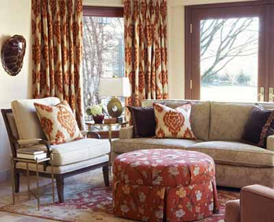 living room design trends ikat curtain fabric