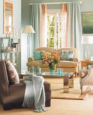 decorative fabrics textiles blue brown color scheme