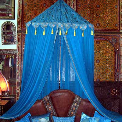 moroccan decor bedroom decorating with blue color