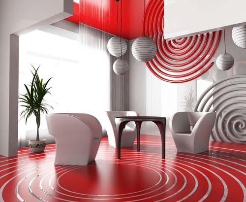 white and red interior decorating colors for the room in techno style