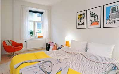 bedroom decorating ideas yellow red white