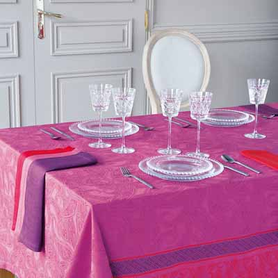 silk fabric pink purple color table decoration