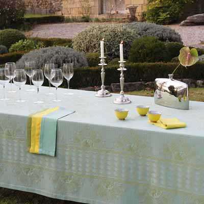 summer party table decoration green yellow fabrics