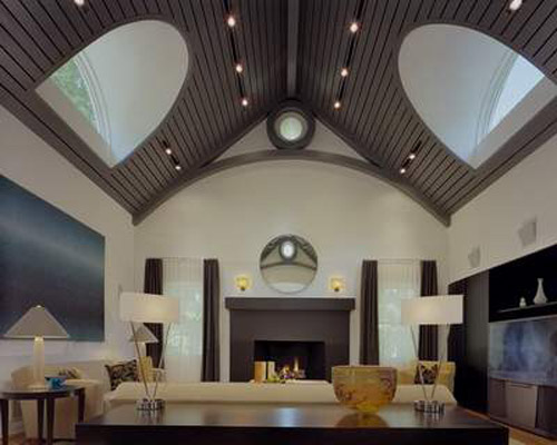 high ceiling and unique living room design in techno style