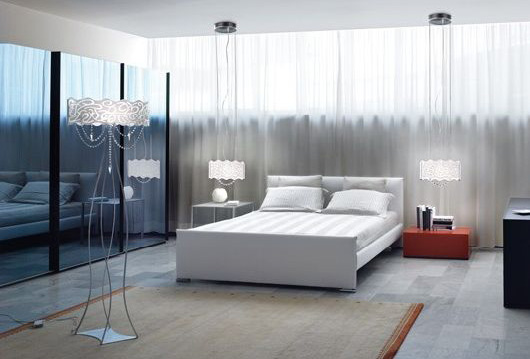 contemporary bedroom decor in with modern table and floor lamps in techno style