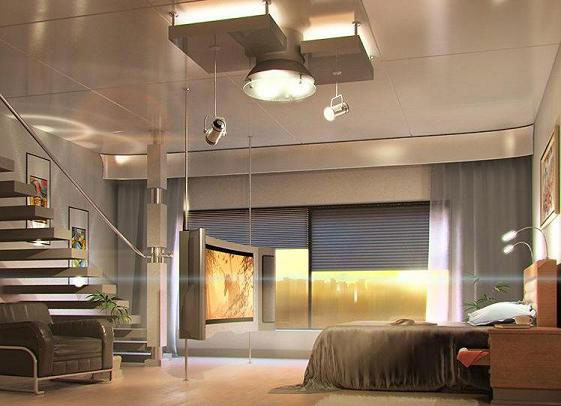 unique ceiling lights and bedroom decorating ideas in techno style