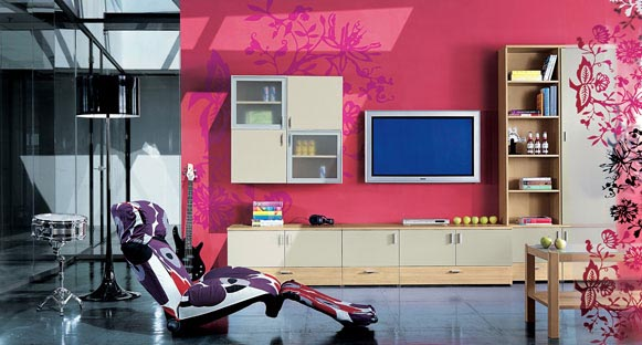 pink wall paint and contemporary living room furniture in techno style