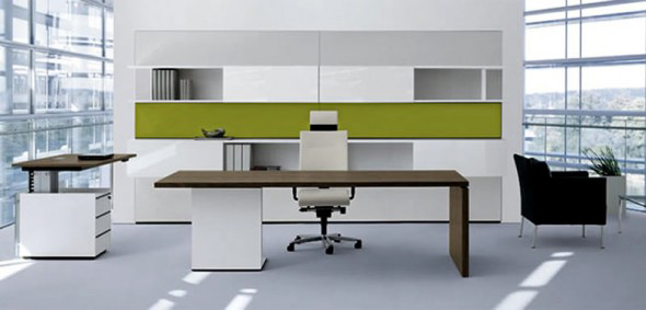 white and green modern furniture in techno style