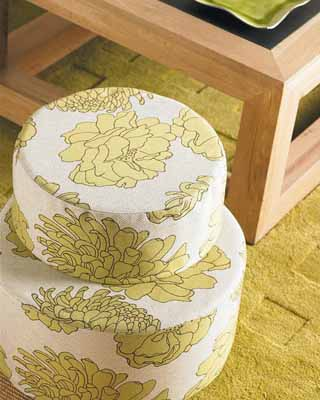 living room furnishings ottoman yellow green colors