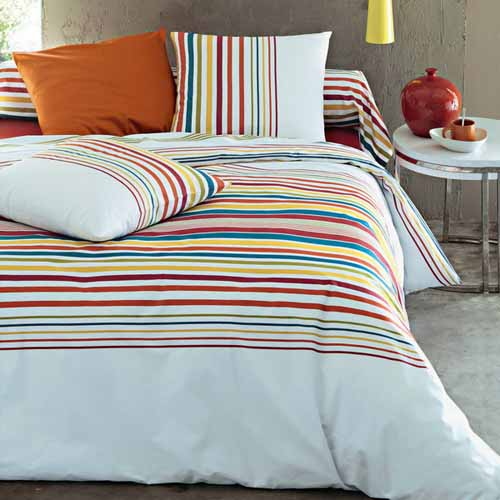 bed sets with colorful stripes and orange bedroom decor accessories