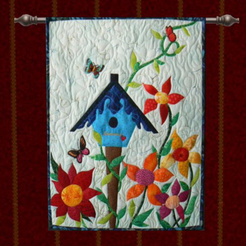 tapestry with bird house for wall decoration ideas in kids rooms