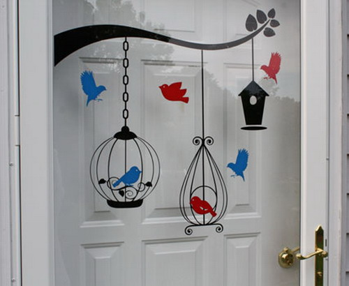 wall stickers for kids rooms with bird house and bird cages