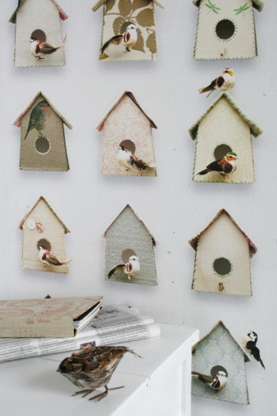 kids wallpaper with wooden bird houses