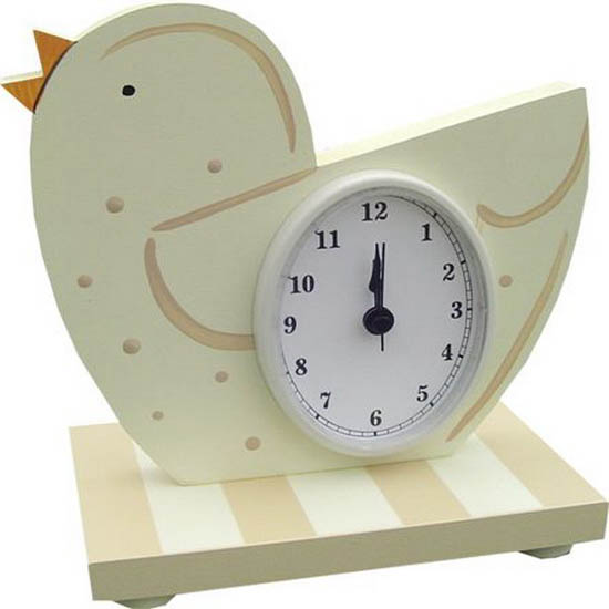 white little bird clock for kids rooms decor