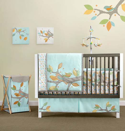 birds on walls and bird applique for baby room decorating in blue color - Baby Bedroom Theme Ideas