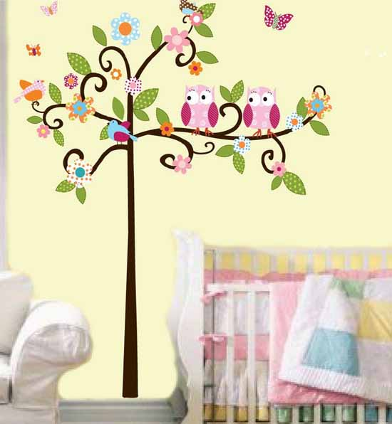 images of birds on tree branches for kids rooms wall decoration