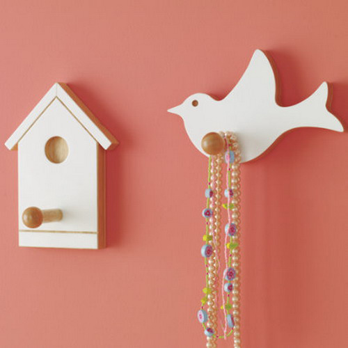 beautiful bird house and bird hooks for kids rooms decor