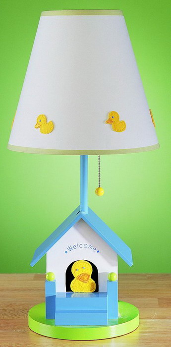 blue bird house table lamp stand with wooden bird house