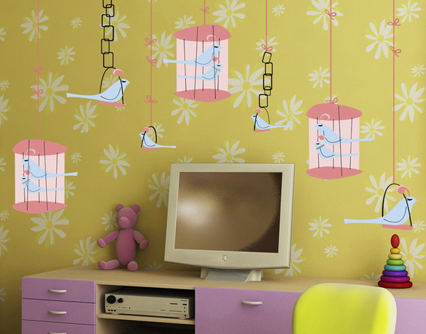 beautiful wallpapers and wall stickers for kids rooms decor with images of birds, bird houses and bird cages