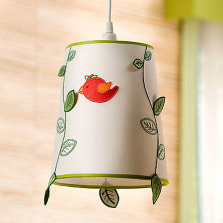 red bird applique on lamp shade for decorating kids room