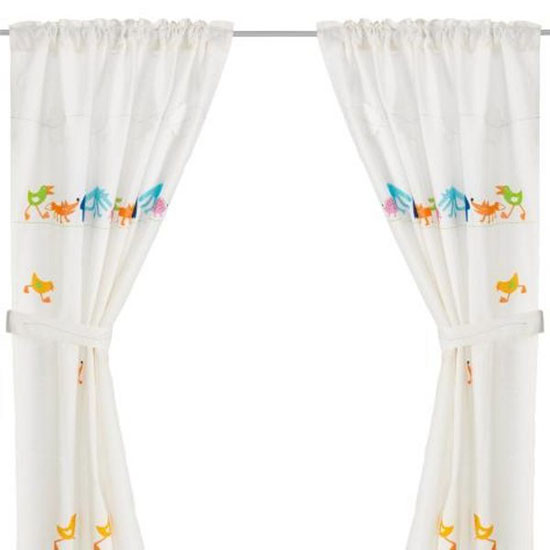 curtains with bird images for kids rooms decor and window decoration