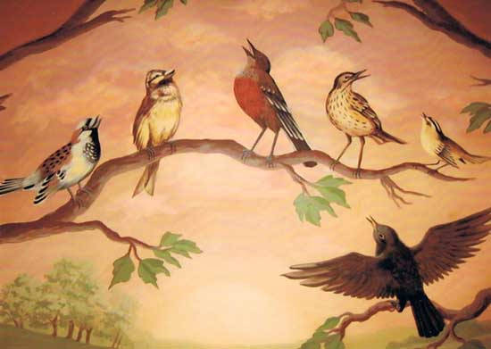 singing birds wall painting ideas and kids rooms murals