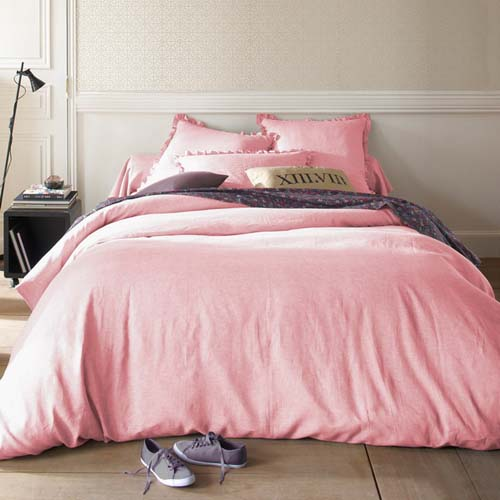 bleached linen bedding sets in pink color