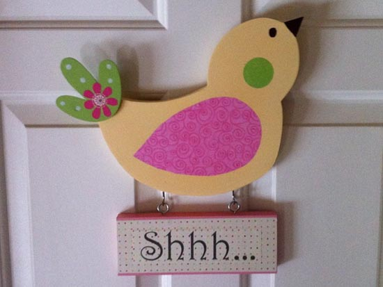 quiet sign with a bird for door decorating